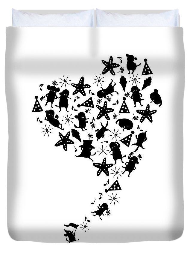 Event Duvet Cover featuring the digital art Heart Shaped Dogs And Stars In Black & by Meg Takamura