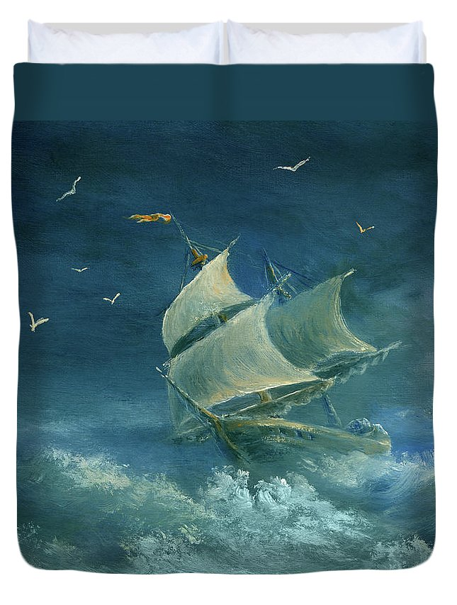 Image Duvet Cover featuring the digital art Heavy Gale by Pobytov