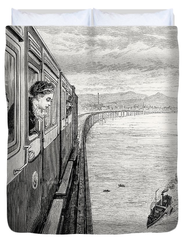 Engraving Duvet Cover featuring the drawing Her Majesty Queen Victoria Crossing Tay Bridge, Dundee, 1879 by English School