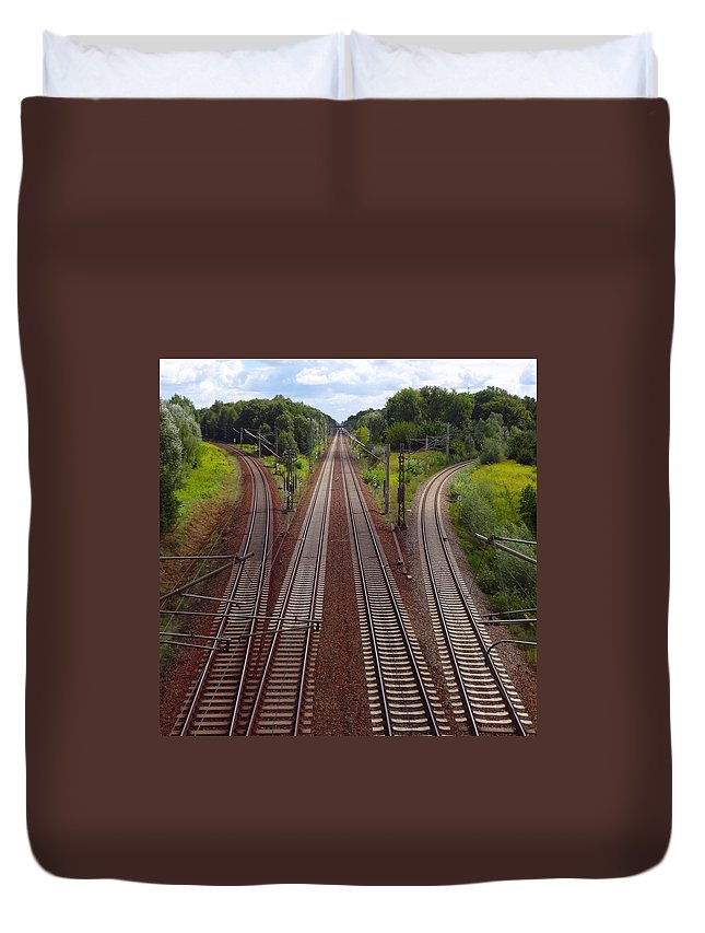 Tranquility Duvet Cover featuring the photograph High Angle View Of Empty Railroad Tracks by Thomas Albrecht / Eyeem