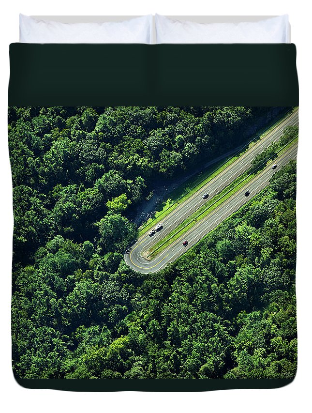 The End Duvet Cover featuring the photograph Highway U-turn In Forest by Thomas Jackson