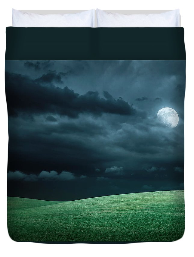 Scenics Duvet Cover featuring the photograph Hilly Meadow At Night With Full Moon by Spooh