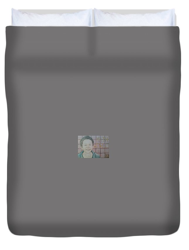 Duvet Cover featuring the drawing HJ by Andrew Johnson