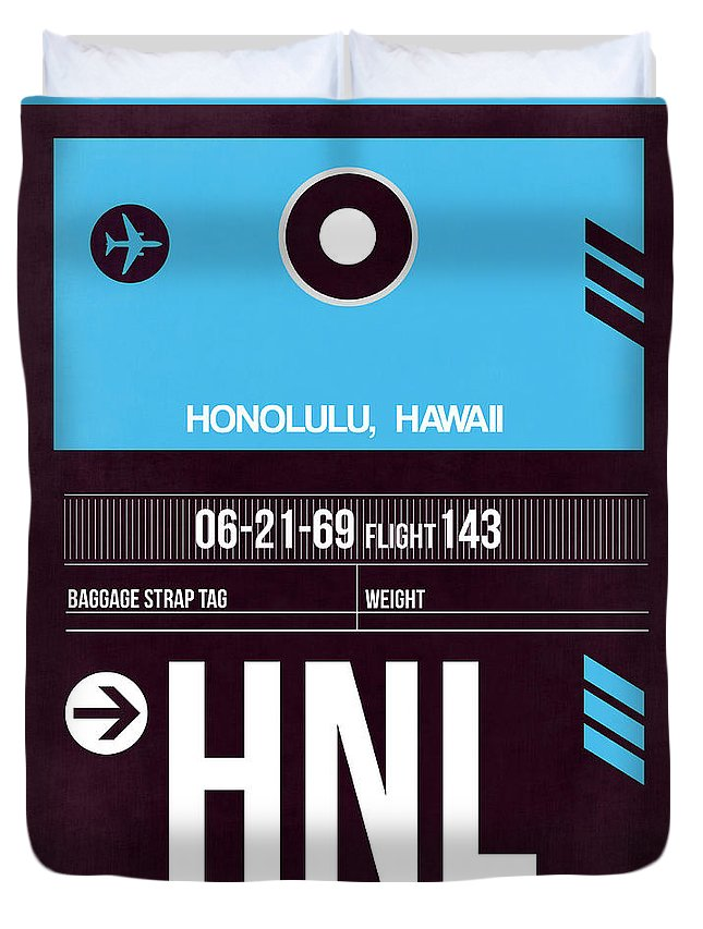 Vacation Duvet Cover featuring the digital art Hnl Honolulu Luggage Tag II by Naxart Studio