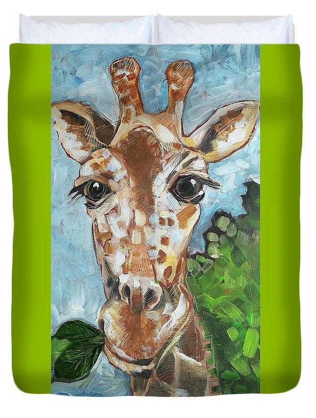 Giraffe Duvet Cover featuring the painting Hobbes Giraffe by Tim Nyberg