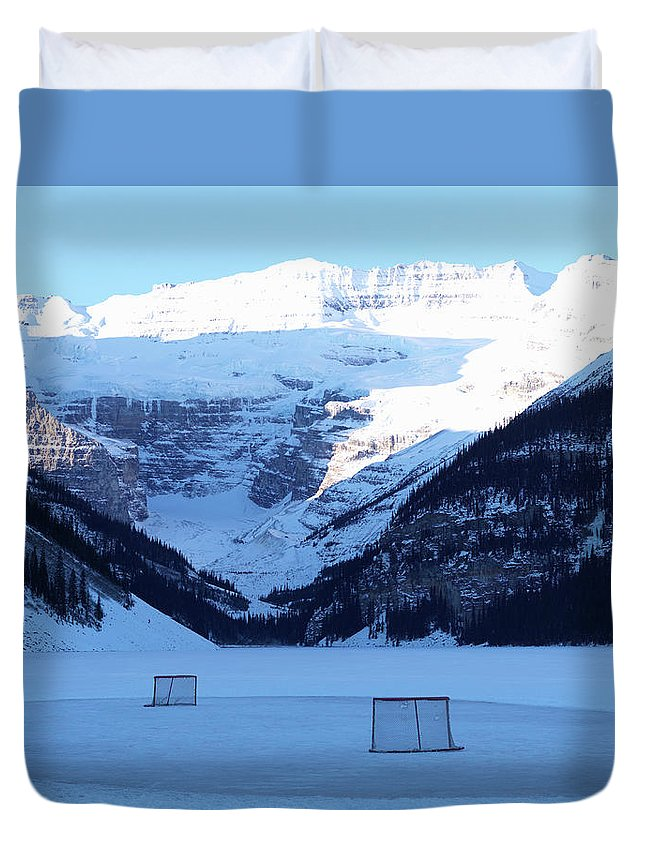 Scenics Duvet Cover featuring the photograph Hockey Net On Frozen Lake by Ascent/pks Media Inc.