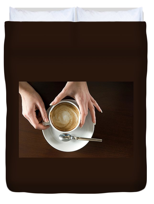 Spoon Duvet Cover featuring the photograph Holding Cappuccino by 1001nights