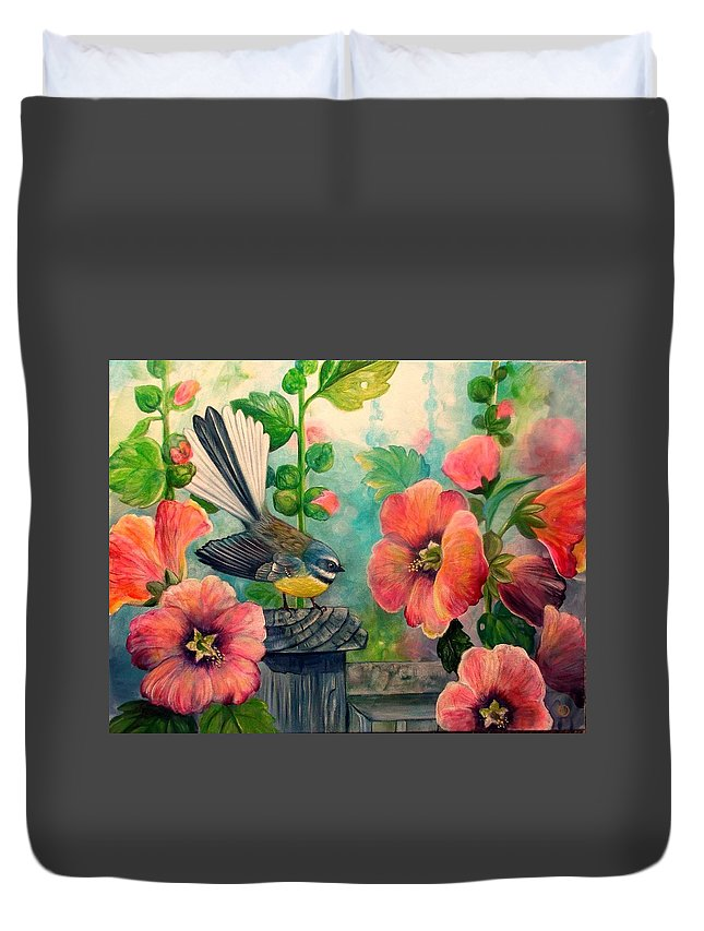 Hollyhocks Duvet Cover featuring the painting Hollyhocks by Irina Velman