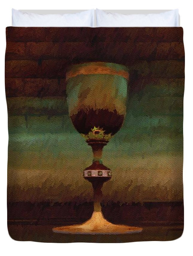 Holy Duvet Cover featuring the painting Holy Grail by Esoterica Art Agency