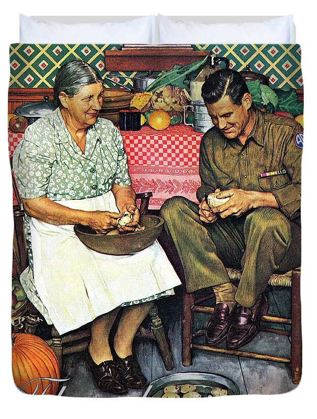 Kitchens Duvet Cover featuring the drawing Home For Thanksgiving by Norman Rockwell