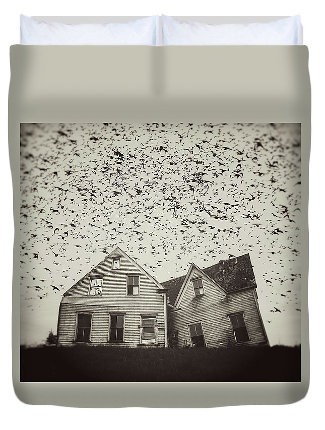 Spooky Duvet Cover featuring the photograph Home Of Murmuration by Shaunl