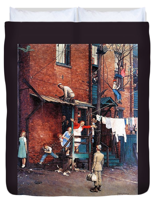 Alley Duvet Cover featuring the drawing Homecoming G.i. by Norman Rockwell
