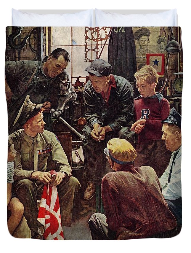 Flags Duvet Cover featuring the drawing Homecoming Marine by Norman Rockwell