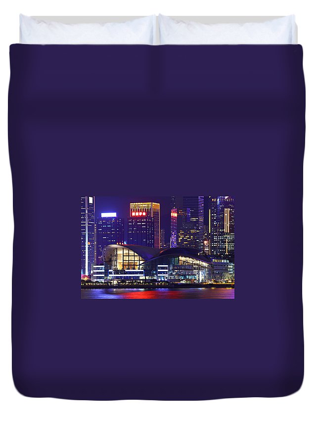 Corporate Business Duvet Cover featuring the photograph Hong Kong Island At Night by Ngkaki