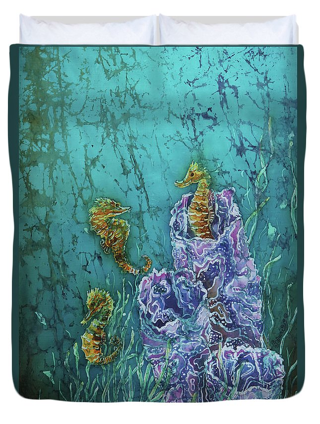 Seahorses Duvet Cover featuring the tapestry - textile Horsin Around by Sue Duda