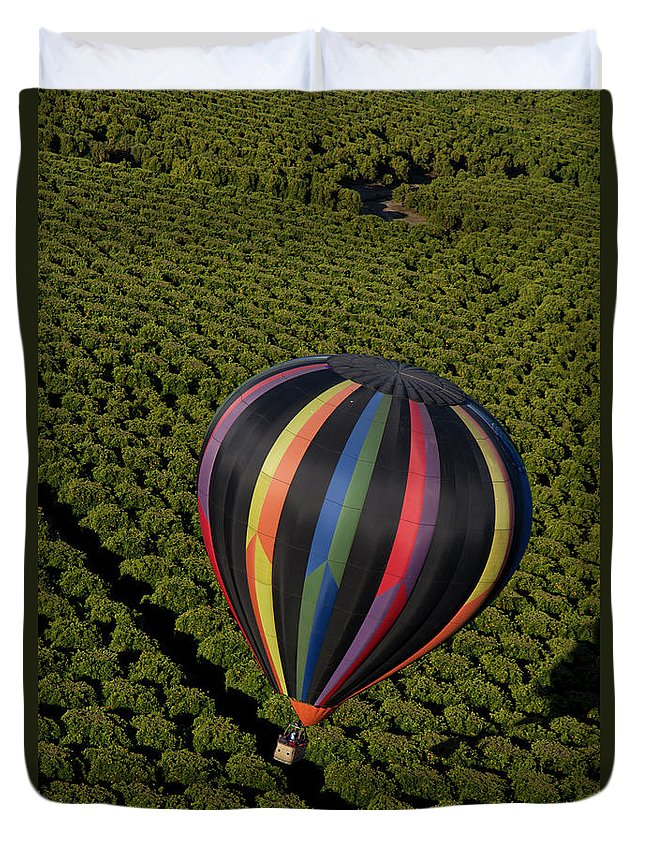 Tranquility Duvet Cover featuring the photograph Hot Air Balloon by Holly Harris