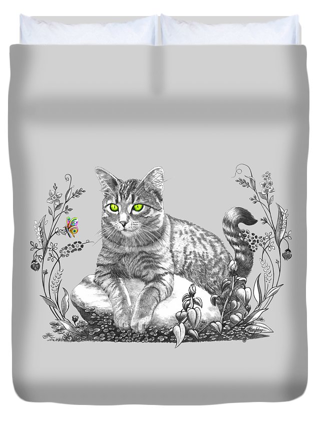 Cat Duvet Cover featuring the drawing House Cat by Murphy Elliott