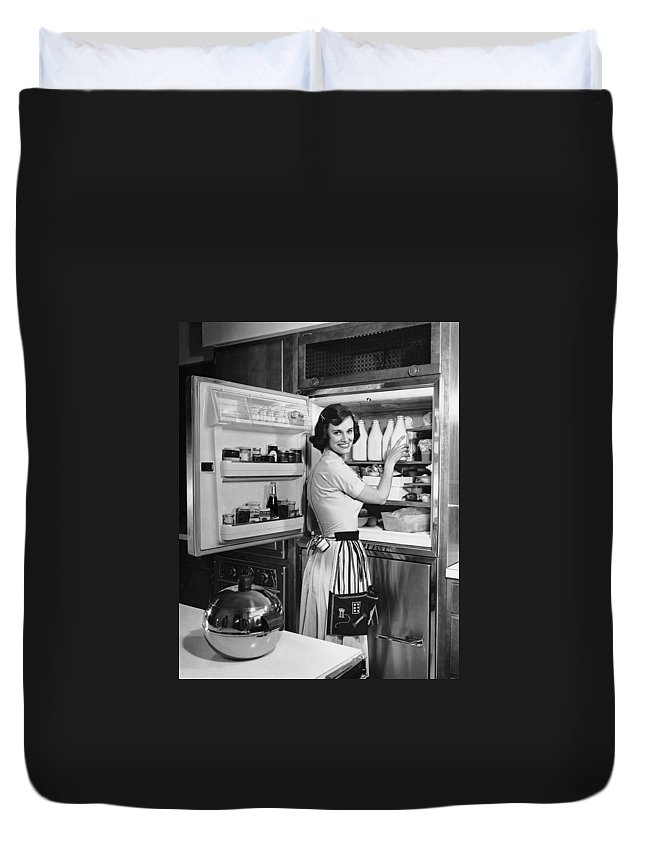 Milk Duvet Cover featuring the photograph House Wife Removing Milk From by George Marks