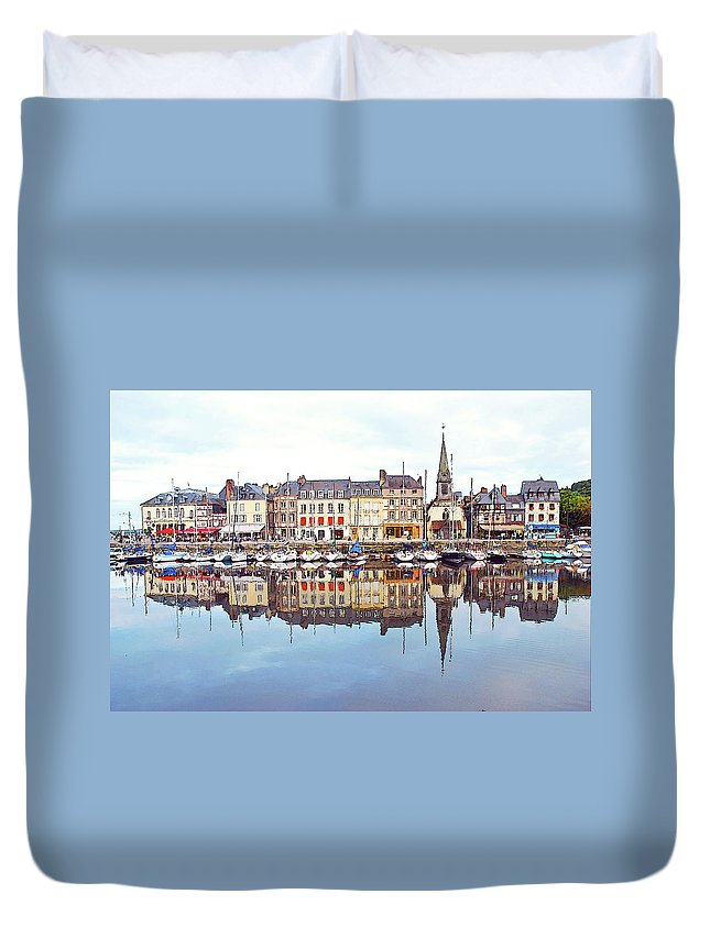 Tranquility Duvet Cover featuring the photograph Houses Reflection In River, Honfleur by Ana Souza