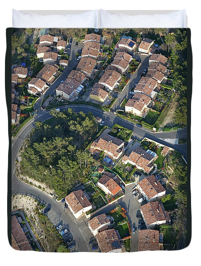 Tranquility Duvet Cover featuring the photograph Housing Development, Peypin, Aerial View by Sami Sarkis