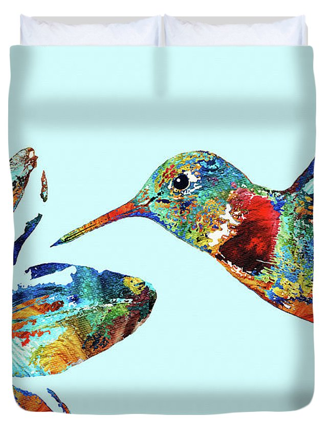 Hummingbird Duvet Cover featuring the painting Hummingbird Blue - Sharon Cummings by Sharon Cummings