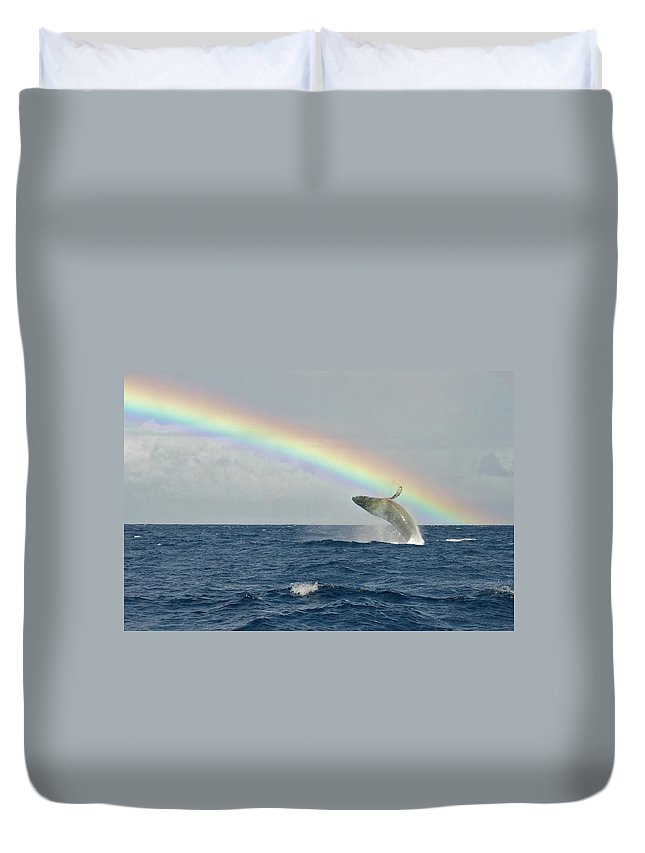 Lahaina Duvet Cover featuring the photograph Humpback Whale Rainbow Breach by Share Your Experiences