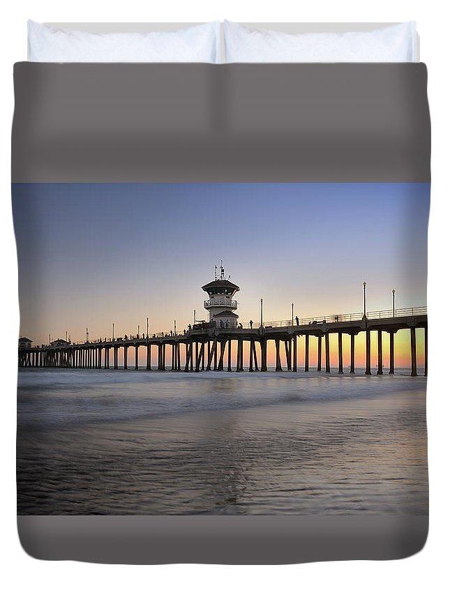 Scenics Duvet Cover featuring the photograph Huntington Beach Pier, California Xxxl by 4fr