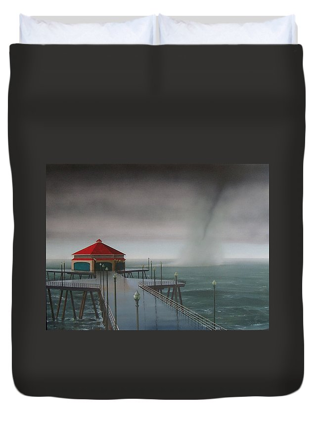 Huntington Beach Duvet Cover featuring the painting Huntington Beach Pier waterspout by Philip Fleischer