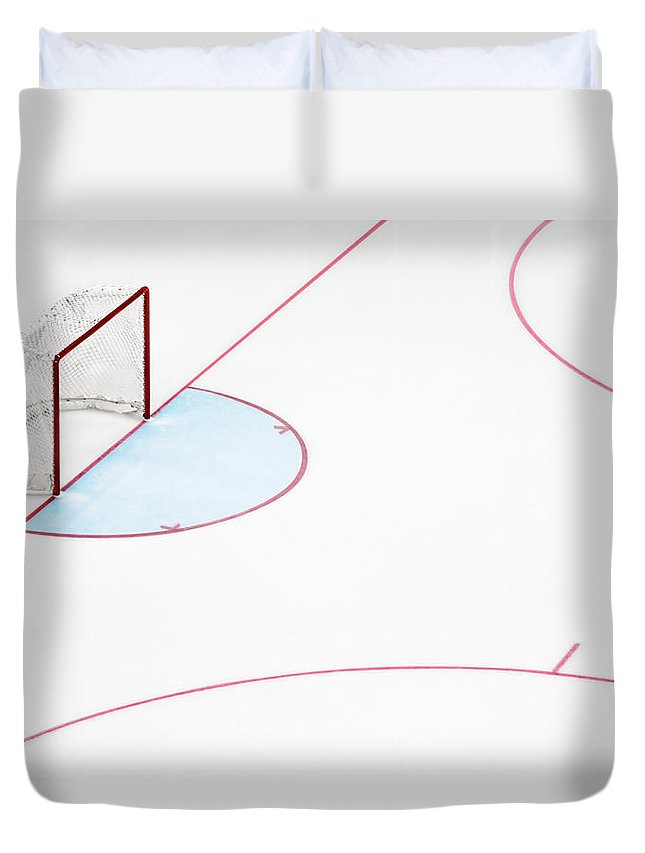 Sport Duvet Cover featuring the photograph Ice Hockey Goal Net And Empty Rink by David Madison