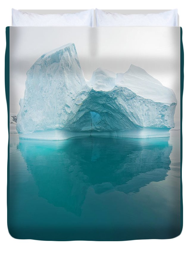 Iceberg Duvet Cover featuring the photograph Iceberg And Reflections, Antarctic by Eastcott Momatiuk