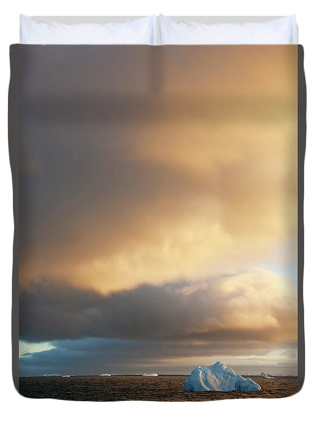 Iceberg Duvet Cover featuring the photograph Icebergs At Sunrise In The Weddell Sea by Mint Images - David Schultz