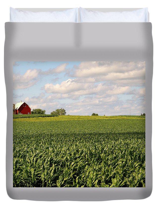 Scenics Duvet Cover featuring the photograph Illinois Corn Field by Jenjen42