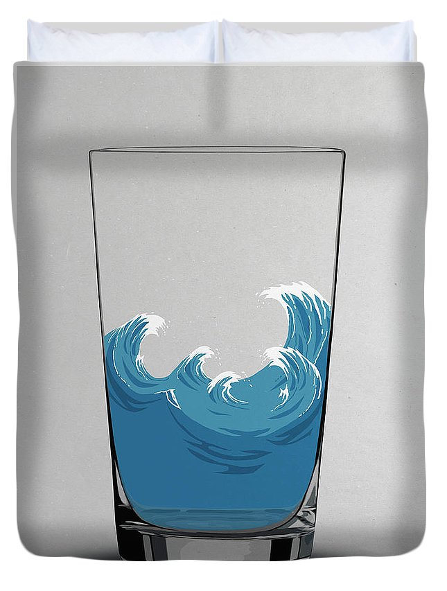 Concepts & Topics Duvet Cover featuring the digital art Illustration Of Choppy Waves In A Water by Malte Mueller