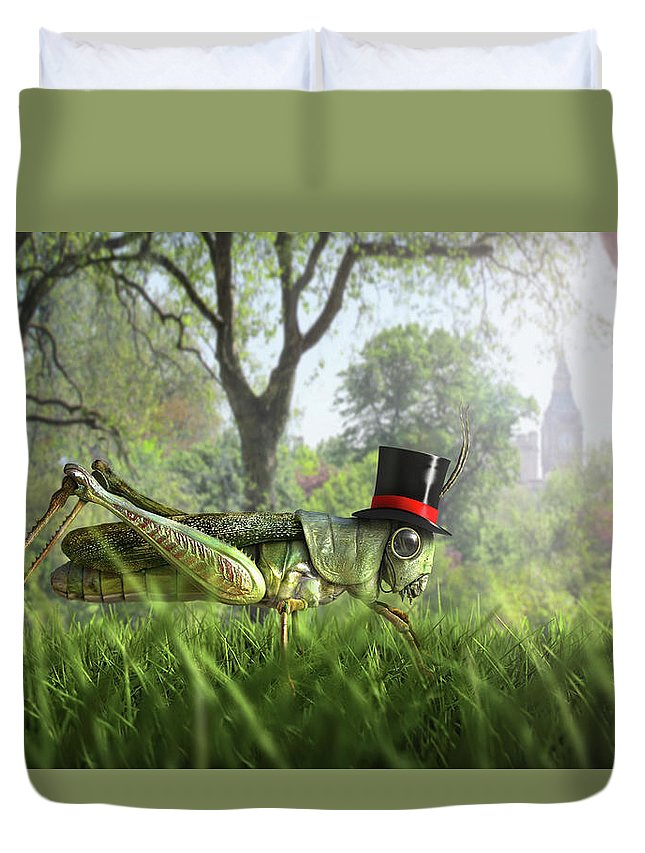 Grass Duvet Cover featuring the digital art Illustration Of Cricket Wearing Monocle by Chris Clor
