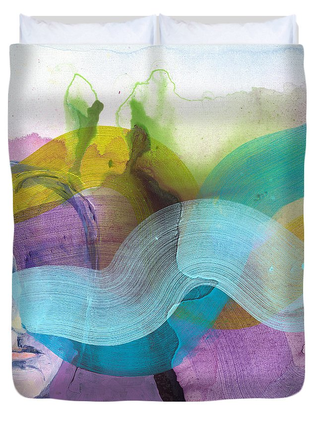 Abstract Duvet Cover featuring the painting In A Mood by Claire Desjardins
