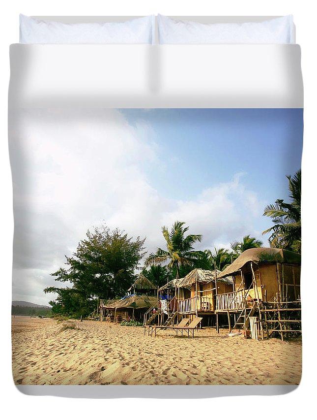 Scenics Duvet Cover featuring the photograph India, Goa, Beach Huts On Agonda Beach by Sydney James