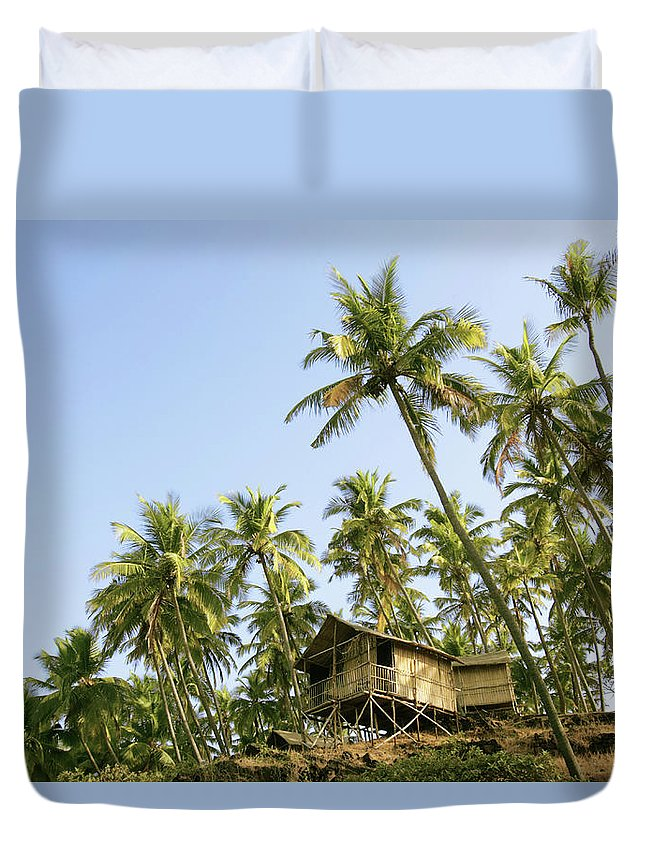 Scenics Duvet Cover featuring the photograph India, Goa, Beach Huts On Palolem by Sydney James
