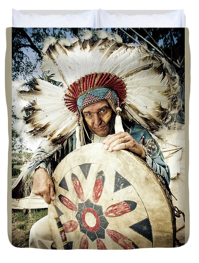 Toughness Duvet Cover featuring the photograph Indian Chief by Mlenny