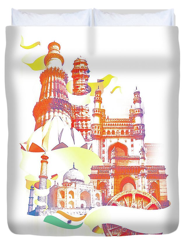Architectural Feature Duvet Cover featuring the digital art Indian Monuments Collage by Anand Purohit