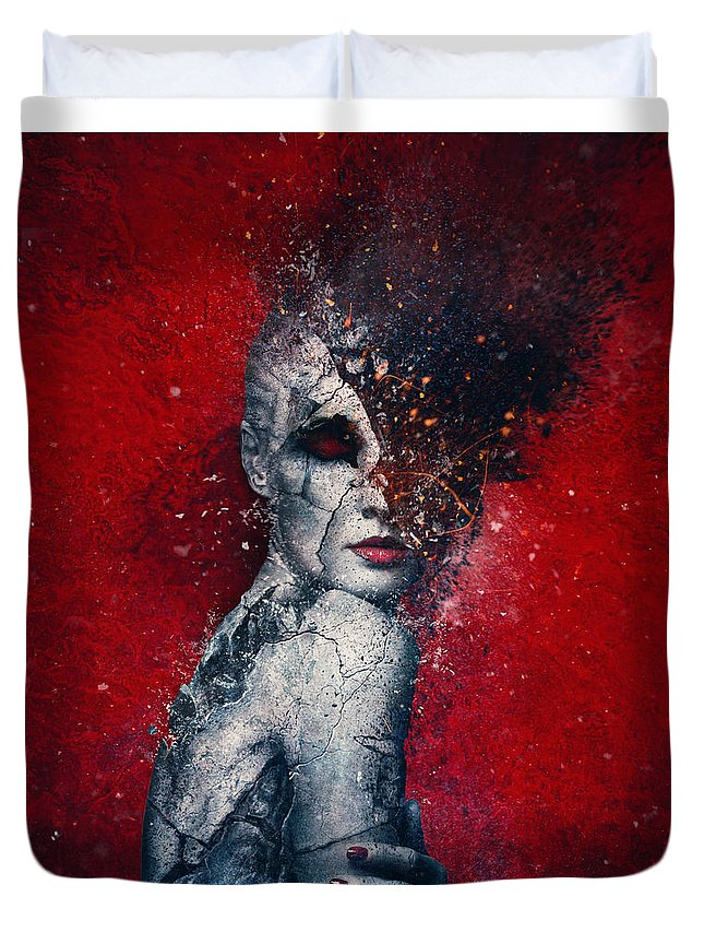 Red Duvet Cover featuring the digital art Indifference by Mario Sanchez Nevado