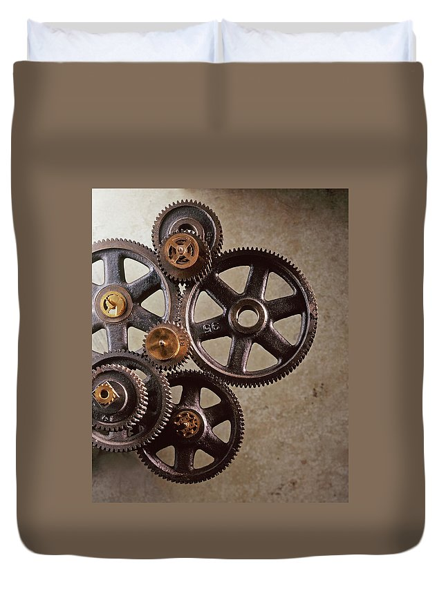 Manufacturing Equipment Duvet Cover featuring the photograph Industrial Gears by Dny59