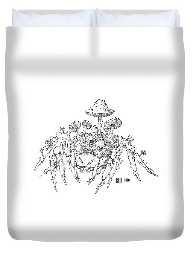 Spider Duvet Cover featuring the drawing Infested Spider by Sami Matilainen