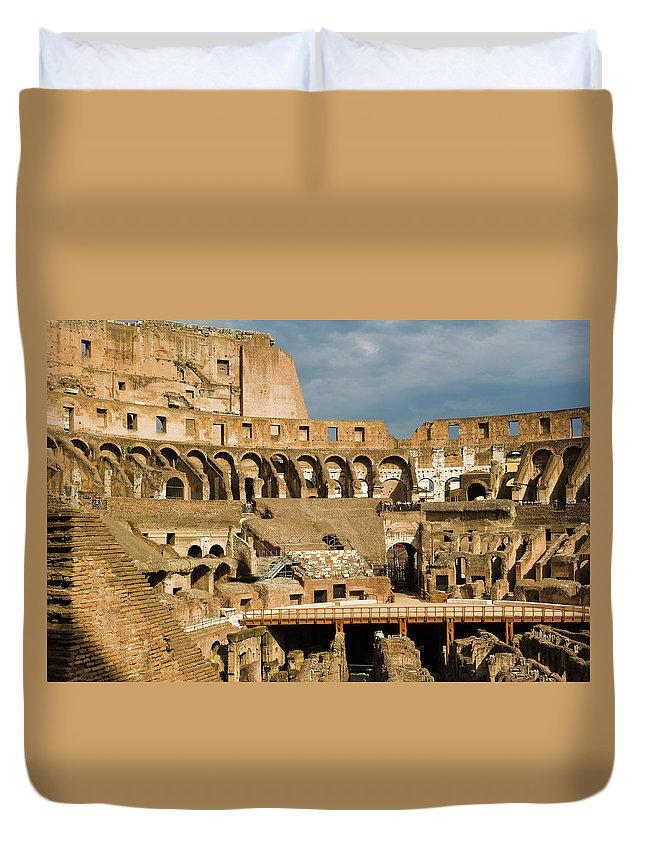 Arch Duvet Cover featuring the photograph Interior Of The Colosseum, Rome, Italy by Juan Silva