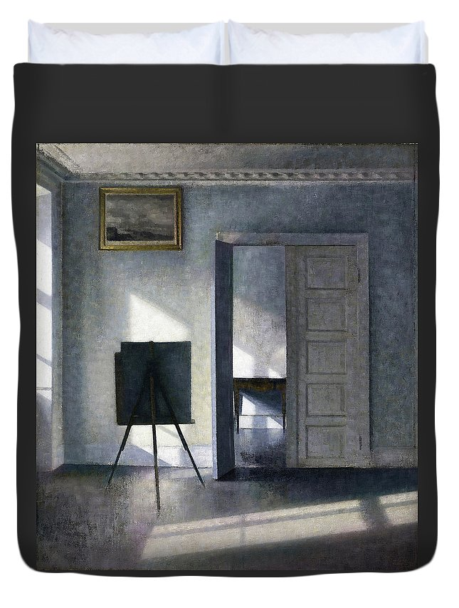 Vilhelm Hammershoi Duvet Cover featuring the painting Interior With The Artists Easel - Digital Remastered Edition by Vilhelm Hammershoi