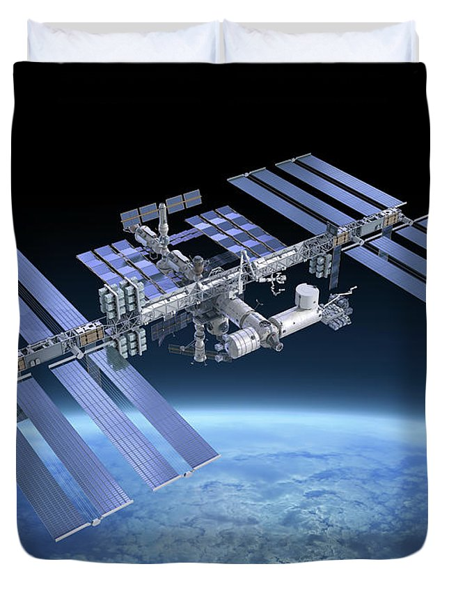 Solar Power Station Duvet Cover featuring the photograph International Space Station Iss by Scibak