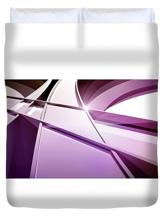 Curve Duvet Cover featuring the digital art Intersecting Three-dimensional Lines In by Ralf Hiemisch