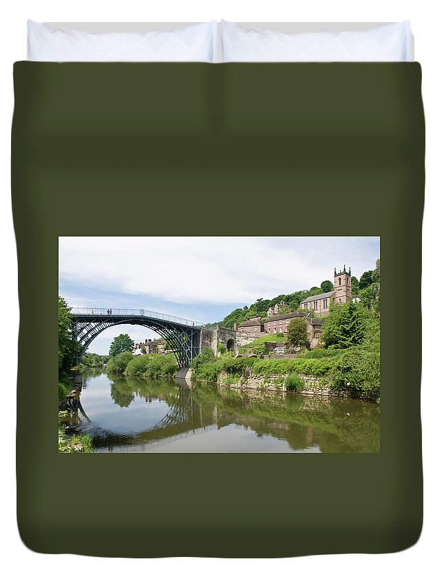Arch Duvet Cover featuring the photograph Ironbridge In Telford by Dageldog