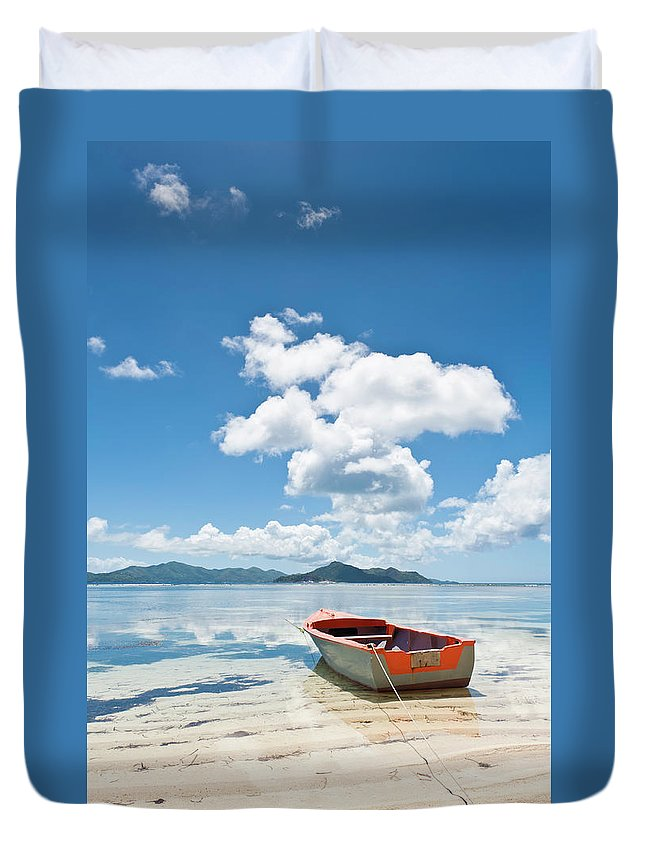 Water's Edge Duvet Cover featuring the photograph Island Beach Tropical Shore Colorful by Fotovoyager