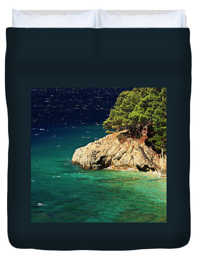 Steps Duvet Cover featuring the photograph Island In The Adriatic by Tozofoto