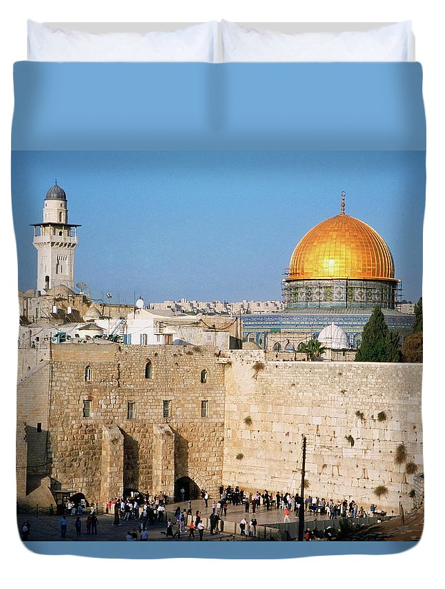 Dome Of The Rock Duvet Cover featuring the photograph Israel, Jerusalem, Western Wall And The by Medioimages/photodisc